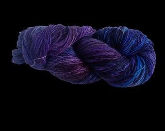 Mulberry Silk Roving Yarn in shades of blue Shades Hand Tie & Die Yarn | 325 yards carded pure silk