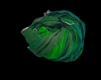 Sari Silk Ribbon super bulky yarn Green Shade Sari Silk Ribbons -Great for Mixed Media, Rug making, Jewellery | 30+ yards