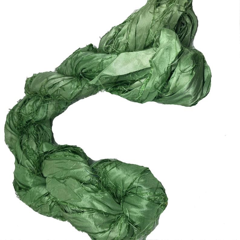 Jewellery Great for Mixed Media 30+ yards Sari Silk Ribbon super bulky yarn Sari Silk Ribbons Rug making Mint Green Silk Strips