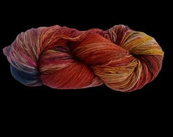Mulberry Silk Roving Yarn in shades of Orange Yellow Shades Hand Tie & Die Yarn | 325 yards carded pure silk