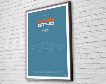FORD GT40 Poster, FORD GT40 print, Car poster print, Retro Car print, Ford, car poster, Minimalist car poster