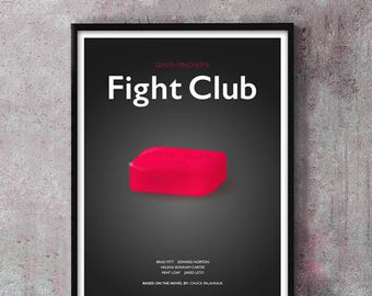 Fight Club Film Poster Art Print, Fight Club Film Poster, David Fincher, Cult Film, Minimalist Movie Poster, Wall Art, Brad Pitt Poster
