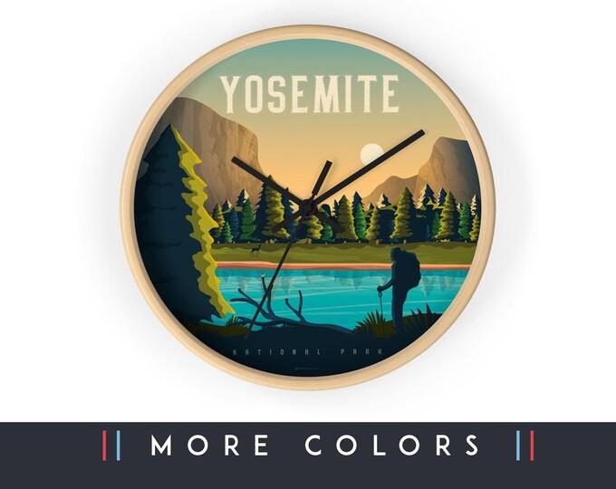 Yosemite National Park California Wall Clock, Skyline Sign, Print Wall Art Home Decor, Digital Artwork Illustration, Holidays Memento Gift