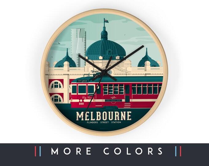 Melbourne Australia Wall Clock, Melbourne Skyline Sign, Print Wall Art Home Decor, Digital Artwork Illustration, Holidays Memento Gift