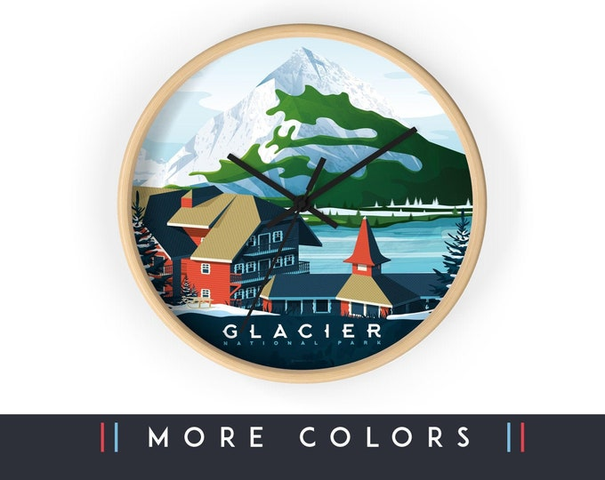 Glacier National Park Wall Clock, Glacier Print Skyline Sign, Print Wall Art Home Decor, Digital Artwork Illustration, Holidays Memento Gift