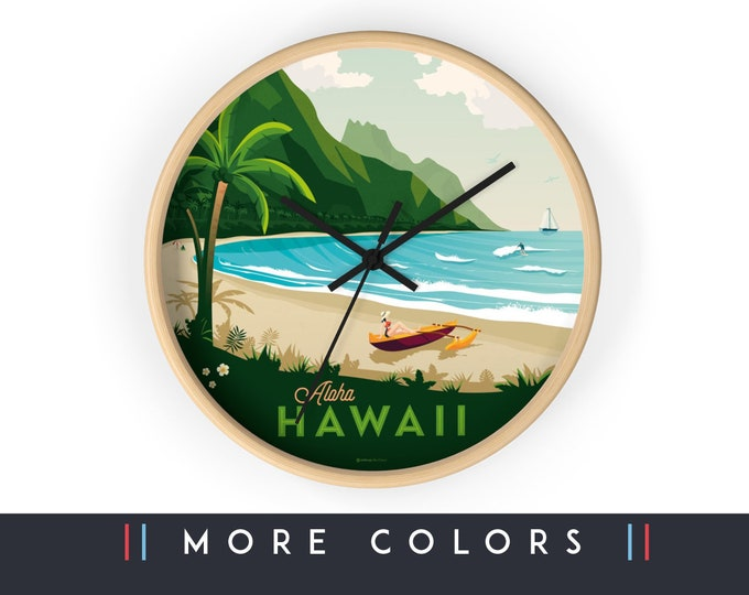 Hawaii Beach Wall Clock, Hawaii Skyline Sign, Hawaii Print Wall Art Home Decor, Digital Artwork Illustration, Holidays Travel Gift