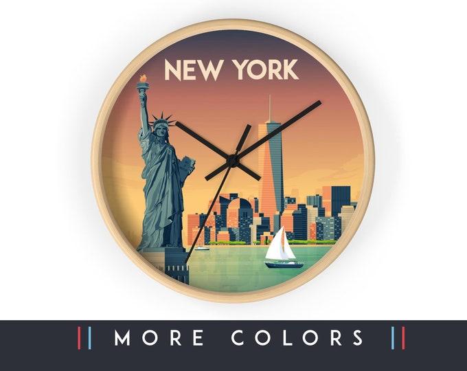 New York Wall Clock, New York Skyline Sign, NYC Print Wall Art Home Decor, Digital Artwork Illustration, Holidays Travel Gift for him