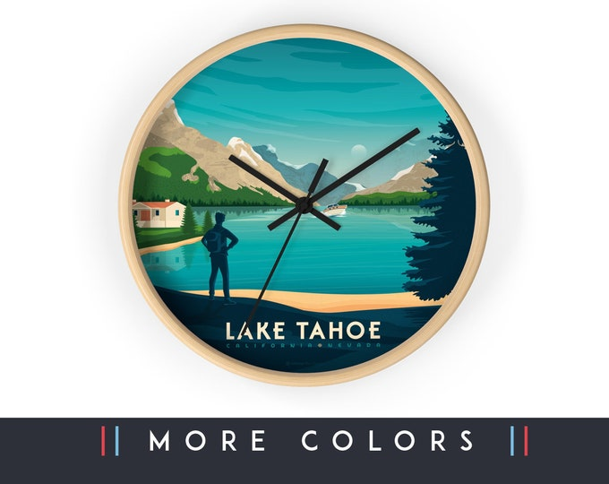 Lake Tahoe California Wall Clock, California Skyline Sign, Print Wall Art Home Decor, Digital Artwork Illustration, Holidays Memento Gift