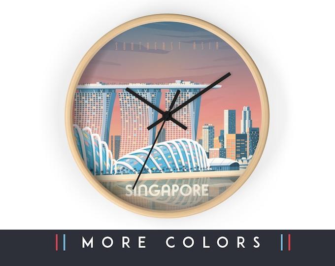 Singapore Asia Wall Clock, Singapore Asia Skyline Sign, Travel Print Wall Art Home Decor, Digital Artwork Illustration, Holidays Travel Gift