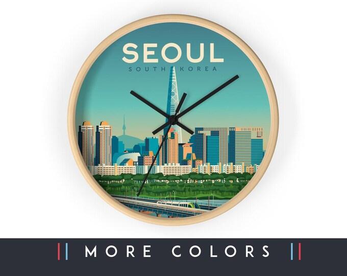 Seoul South Korea Wall Clock, Seoul Asia Skyline Sign, Print Wall Art Home Decor, Digital Artwork Illustration, Holidays Memento Gift