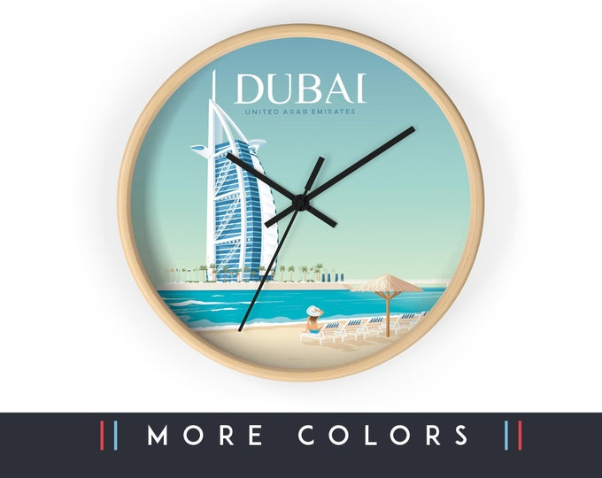 Dubai United Arab Emirates Wall Clock, Dubai Skyline Sign, Print Wall Art Home Decor, Digital Artwork Illustration, Holidays Memento Gift