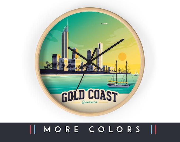 Gold Coast Australia Wall Clock, Surf Beach Skyline Sign, Print Wall Art Home Decor, Digital Artwork Illustration, Holidays Memento Gift