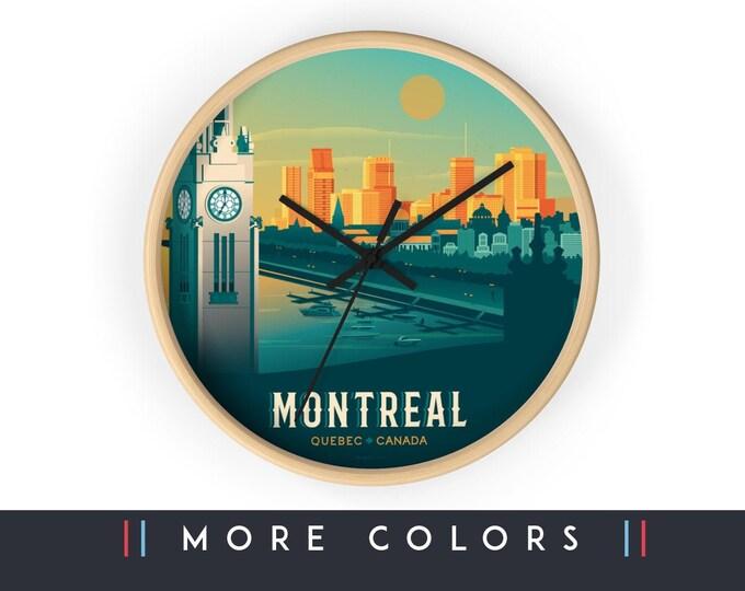 Montréal Quebec Canada Wall Clock, Montréal Skyline Sign, Print Wall Art Home Decor, Digital Artwork Illustration, Holidays Travel Gift