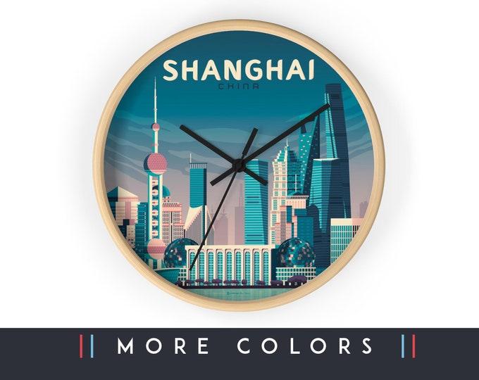 Shanghai China Wall Clock, Shanghai Asia Skyline Sign, Asia Print Wall Art Home Decor, Digital Artwork Illustration, Holidays Travel Gift