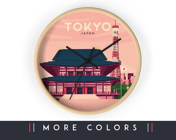Tokyo Japan Wall Clock, Japan Asia Skyline Sign, Print Wall Art Home Decor, Digital Artwork Illustration, Holidays Memento Gift
