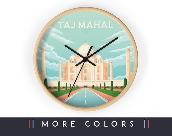 Taj Mahal India Wall Clock, India Asia Skyline Sign, Taj Mahal Print Wall Art Home Decor, Digital Artwork Illustration, Holidays Travel Gift
