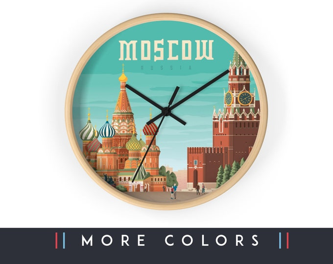 Moscow Russia Wall Clock, Moscow Skyline Sign, Moscow Print Wall Art Home Decor, Travel Digital Artwork Illustration, Holidays Memento Gift