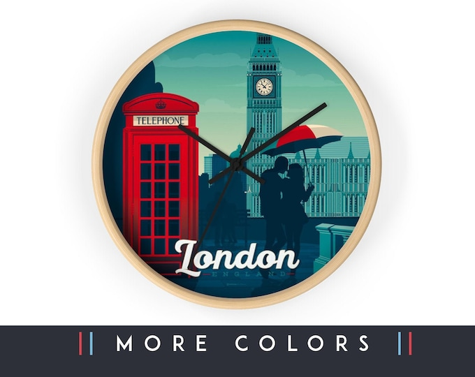 London United Kingdom Wall Clock,London Skyline Sign, Print Wall Art Home Decor, Digital Artwork Illustration, Holidays Memento Gift