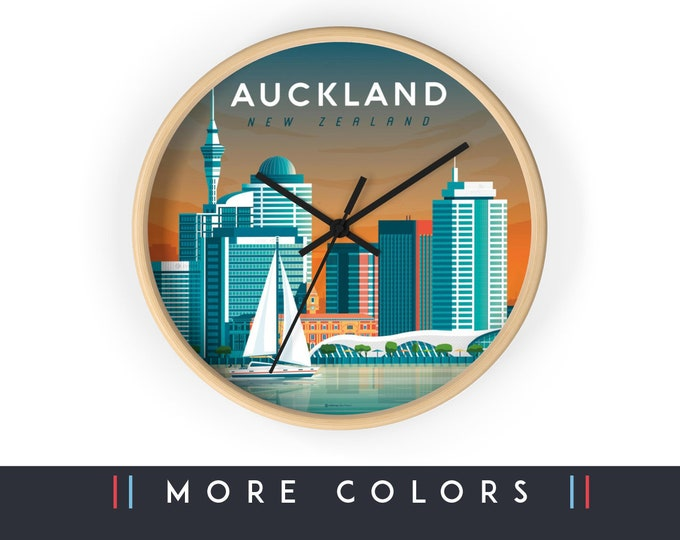 Auckland New Zealand Wall Clock, Auckland Skyline Sign, Print Wall Art Home Decor, Digital Artwork Illustration, Holidays Memento Gift