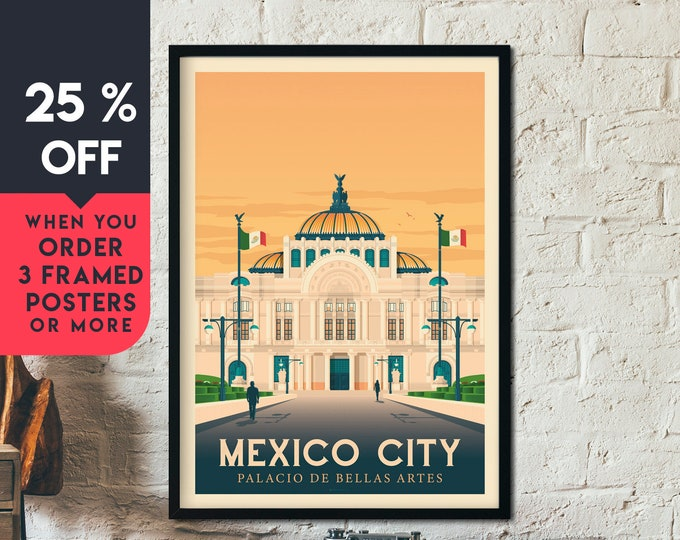 Mexico Print | Mexico Vintage Travel Poster | America Print | Mexico City Poster | City Skyline Wall Art | Home Decor | Gift