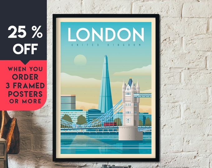 London Print | London Vintage Travel Poster | England UK Print | Tower Bridge Poster | London City Skyline Wall Art | Home Decor | Gift