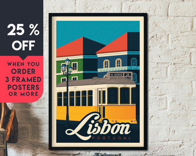 Lisbon Portugal Vintage Travel Poster, Framed Wall Art Print, Minimalist, City Skyline, World Map Art, Cityscape illustration, Home Decor
