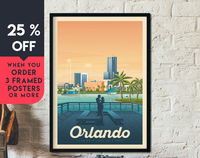 Orlando Florida Vintage Travel Poster, Framed Wall Art Print, Minimalist, City Skyline, World Map Art, Tropical illustration, Home Decor