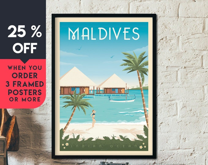Maldives Islands Vintage Travel Poster, Framed Wall Art Print Minimalist Skyline, seascape Map Art, Beach Sea ocean illustration, Home Decor