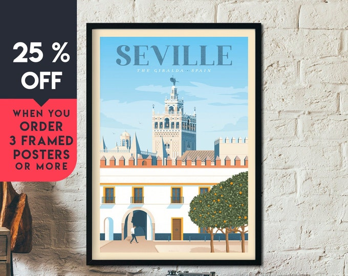 Seville Spain Vintage Travel Poster, Framed Wall Art Print, Minimalist, City Skyline, World Map Art, Cityscape illustration, Home Decor