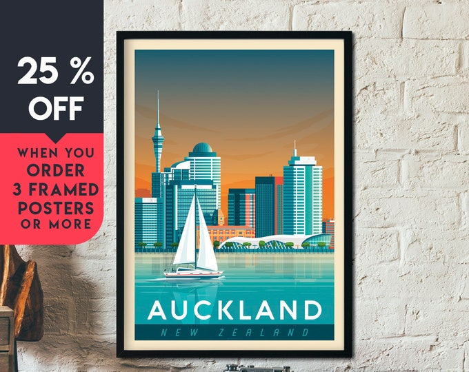 Auckland New-Zealand Vintage Travel Poster, Framed Wall Art Print, Minimalist, City Skyline, World Map Art, illustration, Home Decor