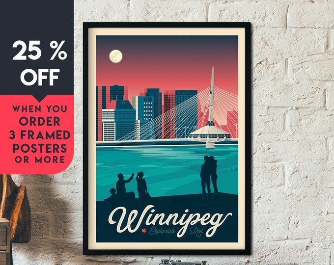 Winnipeg Canada Vintage Travel Poster, Winnipeg framed poster, Canada wall art, Canada home wall decoration, gift idea, Winnipeg retro print