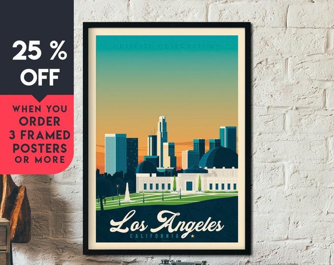 Los Angeles California Vintage Travel Poster, Framed Wall Art Print, Minimalist, City Skyline, World Map Art, illustration, Home Decor, Gift