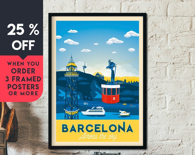 Barcelona Spain Vintage Travel Poster, Framed Wall Art Print, Minimalist, City Skyline, World Map Art, Cityscape illustration, Home Decor