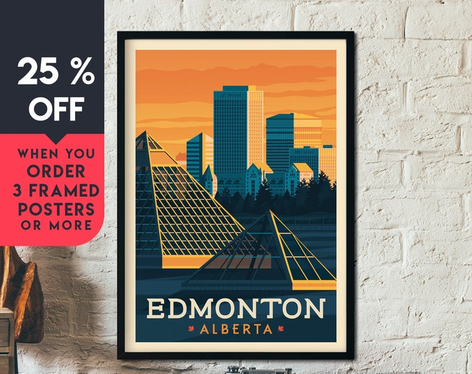 Edmonton Canada Vintage Travel Poster, Framed Wall Art Print, Minimalist, City Skyline, World Map Art, Cityscape illustration, Home Decor