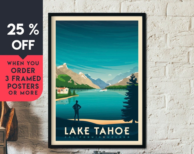 Lake Tahoe Print | Lake Tahoe Vintage Travel Poster | National Park Print | California Poster | City Skyline Wall Art | Home Decor | Gift