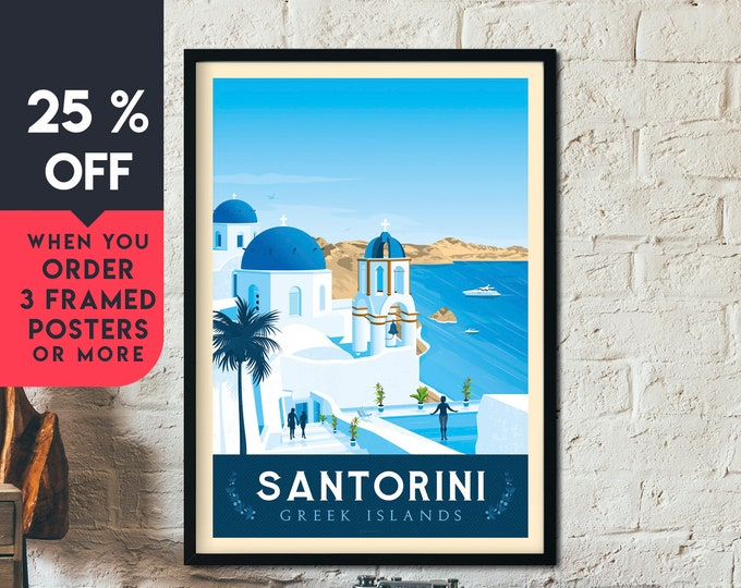 Santorini Vintage Travel Poster, Framed Wall Art Print, Minimalist, City Skyline, World Map Art, Beach Palm Tree illustration, Home Decor