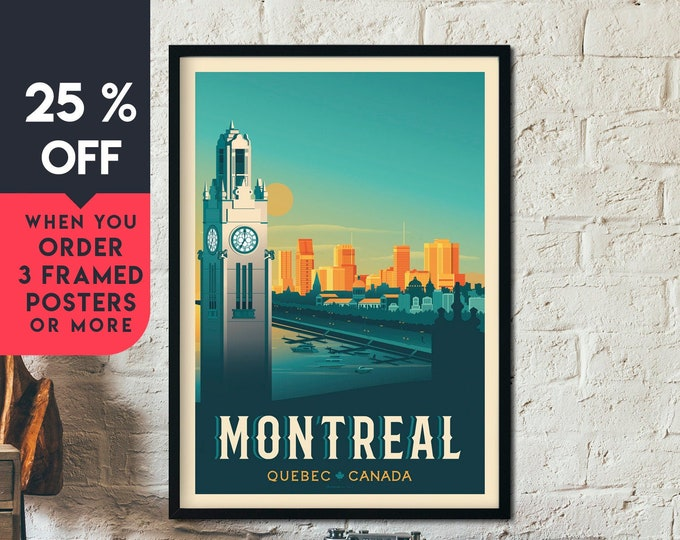 Montréal Canada Vintage Travel Poster, Framed Wall Art Print, Minimalist, City Skyline, World Map Art, Cityscape illustration, Home Decor