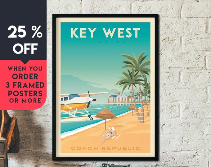 Key West Print | Key West Vintage Travel Poster | Florida Keys Print | Surf print | Beach Poster | City Skyline Wall Art | Home Decor | Gift