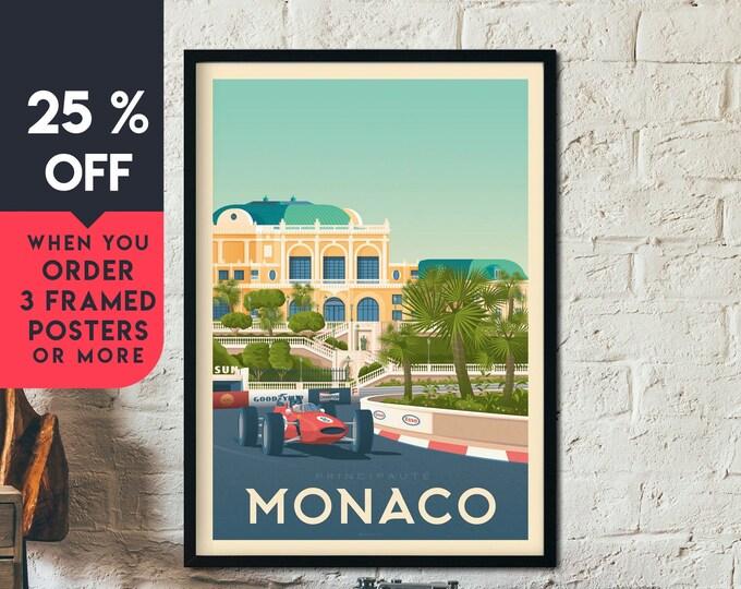 Monaco France Vintage Travel Poster, Framed Wall Art Print, Minimalist, City Skyline, World Map Art, Cityscape Car illustration, Home Decor