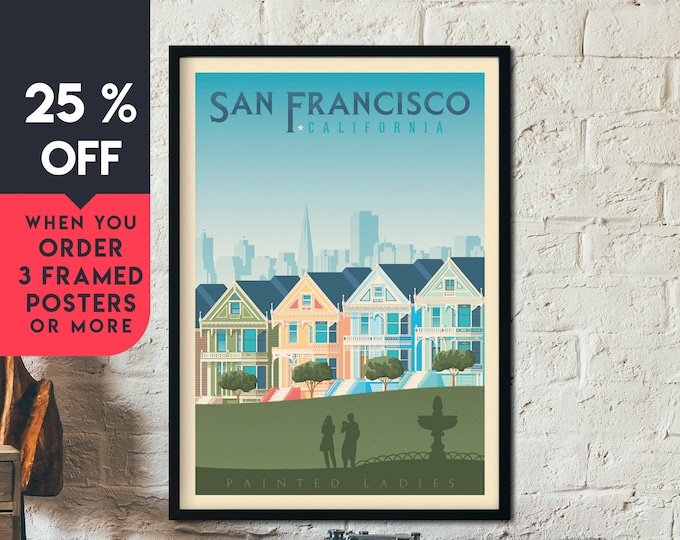 San Francisco California Vintage Travel Poster, Framed Wall Art Print, Minimalist, City Skyline, World Map Art, illustration, Home Decor