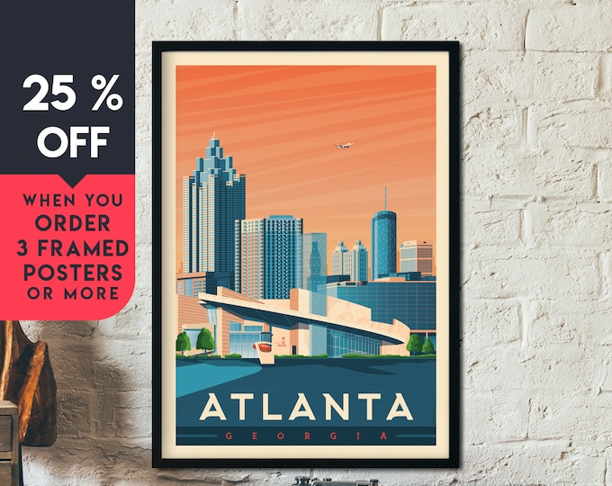 Atlanta Georgia Vintage Travel Poster, Framed Wall Art Print, Minimalist, City Skyline, World Map Art, Cityscape illustration, Home Decor