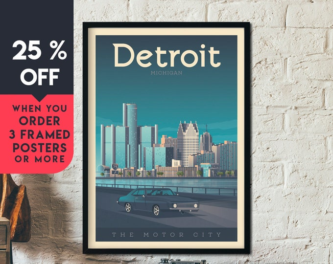 Detroit Print | Detroit Vintage Travel Poster | United States Print | Detroit Michigan Poster | City Skyline Wall Art | Home Decor | Gift