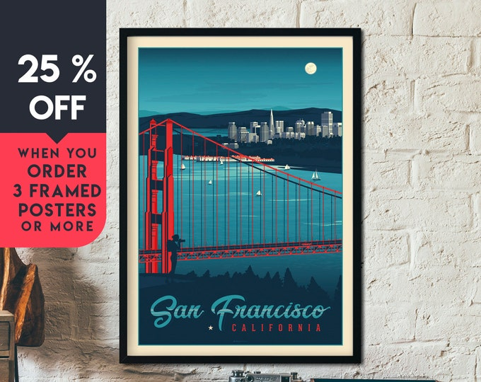 San Francisco California Vintage Travel Poster, Framed Wall Art Print, Minimalist, City Skyline, Map Art, Cityscape illustration, Home Decor