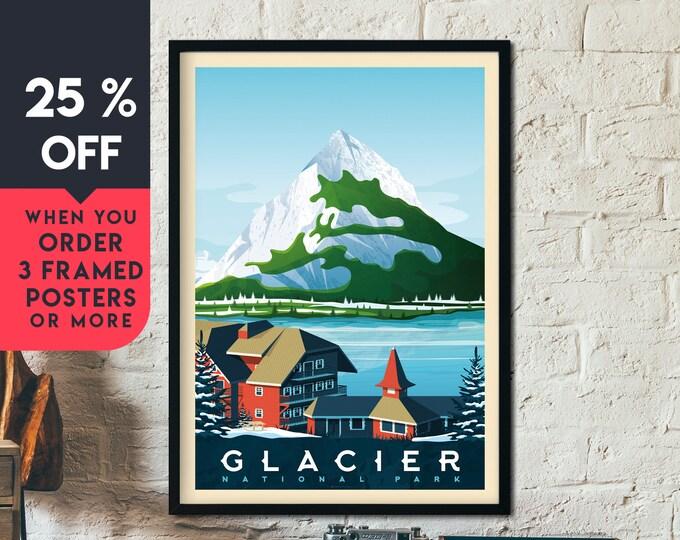 Glacier Print | Glacier Vintage Travel Poster | National Park Print | Mountain Glacier Poster | City Skyline Wall Art | Home Decor | Gift