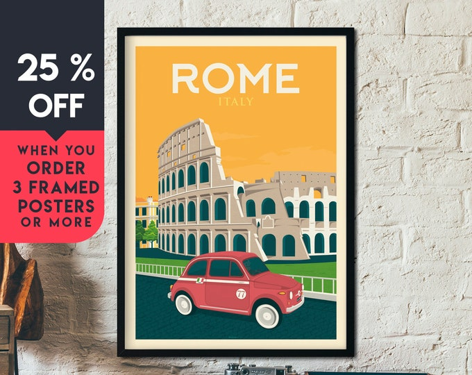 Rome Italy Vintage Travel Poster, Framed Wall Art Print, Minimalist, City Skyline, World Map Art, Cityscape Car illustration, Home Decor