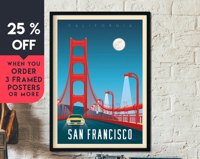 San Francisco Print | San Francisco Vintage Travel Poster | California Print | Golden Gate Bridge Skyline Wall Art | Home Decor | Gift