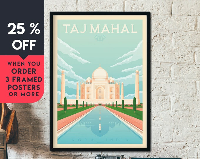 Taj Mahal India Vintage Travel Poster, Framed Wall Art Print, Minimalist, City Skyline, World Map Art, Wanderlust illustration, Home Decor
