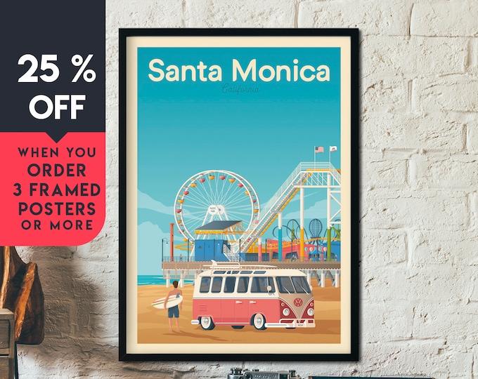 Santa Monica Print | Santa Monica Vintage Travel Poster | California Print | Surf Poster | Beach Skyline Wall Art | Home Decor | Gift