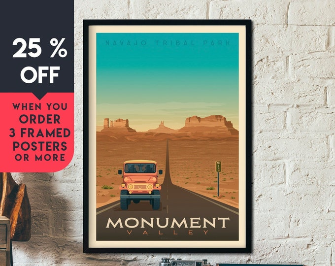 Monument Valley Print | Monument Valley Vintage Travel Poster | National Park Print | Arizona Poster | Skyline Wall Art | Home Decor | Gift