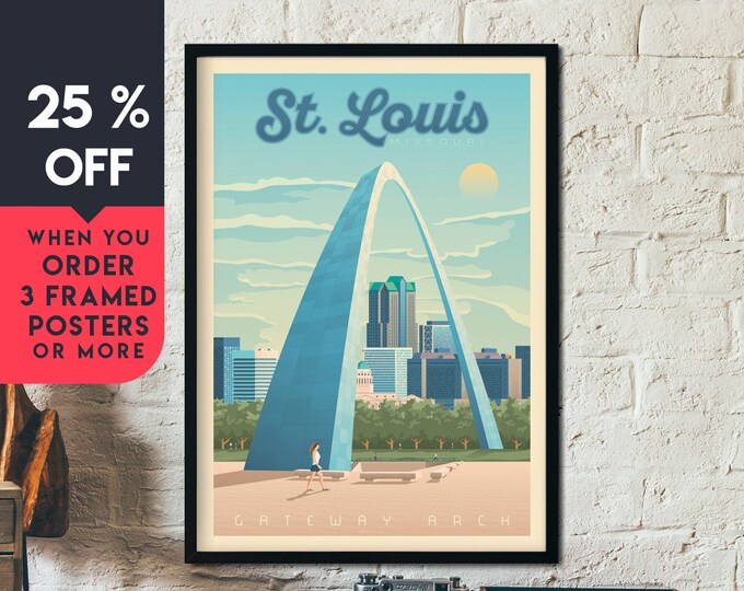 St. Louis Vintage Travel Poster, Framed Wall Art Print, Minimalist, City Skyline, World Map Art, Gateway Arch illustration, Home Decor